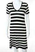 BCBG Max Azria Black White Silk Striped V-Neck Short Sleeve Sweater Dress Size M