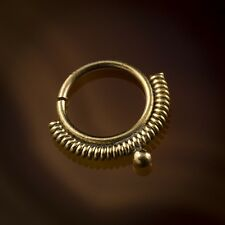 Madhavi Spiral Wire Brass Septum Ring for Pierced Nose - 1mm (18g) (Code 39)