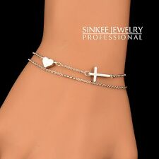 Charm Heart And Cross 2 Layers Bracelets For Women 18K White Gold No Stone SL288
