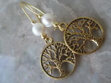 Handmade Earrings with Golden Tree of Life & Fresh Water Pearls-Jewish