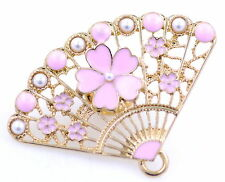 Gold tone fan brooch / pin, pink enamel cherry / plum blossom, great present!