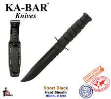 Ka-Bar Short Black Knife Fixed Blade Serrated with Hard Sheath 1259