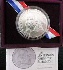 1992 Ben Franklin Silver Firefighter Brilliant Uncirculated Commemorative Medal