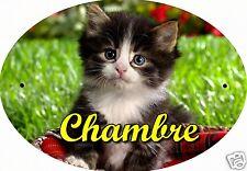 PLAQUE DE PORTE OVALE RIGIDE CHAT CHATON REF110 personnalisée  prénom CHAMBRE