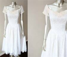 Pin Up Sweetheart Full Circle Vintage 70s Lace White Wedding Party Dress Sz M