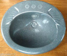 "K&B FIXTURES RV OVAL LAVATORY SINK 20"" X 17"" X 8""  GRAY NEEDS HOLES KNOCKED OUT"