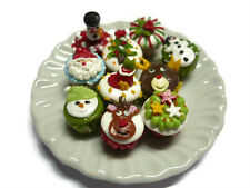 10 Miniature Christmas Cupcakes Dollhouse Miniatures Food Holiday Deco -2