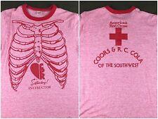 True Vintage 70s 80s Skeleton Ribcage CPR Instructor Tri-Blend Ringer T-Shirt M