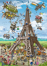 Jigsaw Puzzle International Building Eiffel Tower Caricature 1000 pc NEW Mfg USA