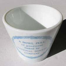 NATIONAL BISCUIT CO. Old Antique Small Milk Glass Mixing / Measuring Bowl Adv.