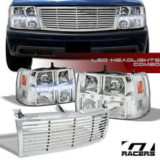 FOR 1999-2006 CHEVY SILVERADO SUV CHROME DRL LED HEADLIGHTS SIGNAL+GRILL GRILLE