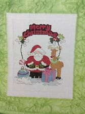 Santa counted cross stitch pattern book, fabric, & floss lot
