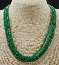 """NATURAL AAA 2x4mm EMERALD FACETED GEMS BEADS NECKLACE 3 STRAND 17-19""""INCH"""