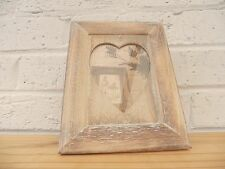 Wood Vintage Heart Shaped Photo Frame 10x15cm Lime Washed Retro Shabby Chic