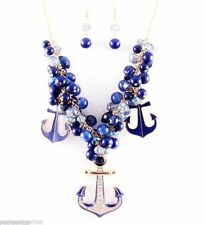 Anchor Enamel Navy Blue Pendant Women Necklace Set Gold Plated Chain Large New