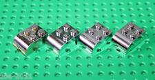 Lego Silver Chrome Brick Modified 2x3 with Curved top 4 pieces (6215) NEW
