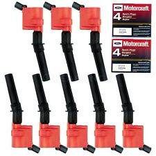 8x Red Ignition Coil DG508 Motorcraft Spark Plug SP479 For Ford Lincoln Mercury