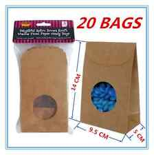 20xDelightful BROWN PAPER KRAFT LOLLY CANDY RETRO BAGS WINDOW FACED BAGS CRAFT a