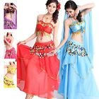 New Sexy Professional Belly Dance Costume 2 layers with Sequins#DP09
