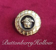 One (1) Uncirculated Versace Medusa Head Gold Tone and Black Enamel Metal Button