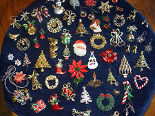 67 PC HUGE LOT VINTAGE COSTUME ESTATE JEWELRY CHRISTMAS BROOCHES PINS EISENBERG