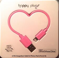 HAPPY PLUGS 8 Pin to USB Charge/Sync Cable Iphone Ipad Ipod Pink New In Case