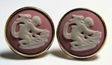 Pink Wedgwood Cupid Putti Cameo Pierced Earrings Gold Over Sterling Silver 925