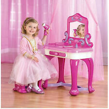 Kids Plastic Vanity Playing Set Pink Makeup Seat Girls Princess Toddler Bedroom