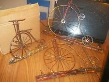 SET OF 3 ESTATE  PENNY FARTHING METAL COPPER  BICYCLE  3D WALL DECOR  (VV4)