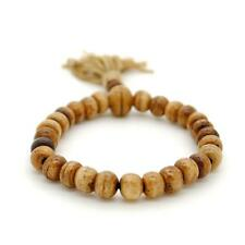 GENUINE CAMEL BONE WRIST MALA 8mm Prayer Bead Bracelet Stretch Antique Brown NEW