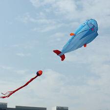 """3D Kite Huge Frameless Soft Parafoil Giant Dolphin Kite Blue Easy Fly 79 x 29"""""""