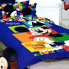 Mickey Mouse Disney - Puzzle - Double/US Full Bed Quilt Doona Duvet Cover Set