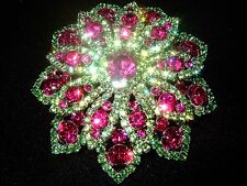 GORGEOUS LARGE FLOWER VINTAGE INSPIRED LIME AND FUCHSIA RHINESTONE BROOCH