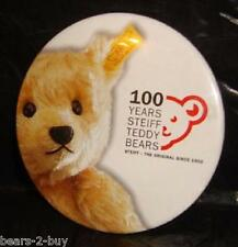 Steiff  100 Years of Steiff Teddy Bear New Tin Plate Metal Badge Rare