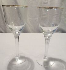 Pr WATERFORD MARQUIS MELODIA crystal etched w/ Gold Rim Wine Glass retired 1999