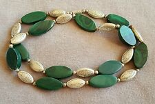 VECCHIO Vintage Francese Art Deco Ovale Malachite e Argento Collana Di Perline 20 pollici