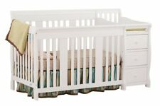 Stork Craft Portofino 4 in 1 Fixed Side Convertible Crib Changer, (White)