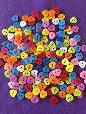 Brand New Selection Of 50 2-hole Bright Coloured Resin Heart Buttons - 10mm