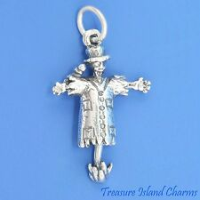 MOVABLE SCARECROW with BIRD 3D .925 Sterling Silver Charm