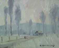 KYLE BUCKLAND TREES COLOR ART IMPRESSIONISM DAILY PAINTING MORNING FOG MIST ROAD