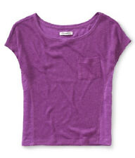 Aeropostale Sheer Knit Front w/ Pocket Solid Back Boxy Top Sexy Womens Shirt NWT
