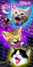 "Kitty Cats Singing Karaoke Animal Print Beach Velour Towel (30""x60"")"