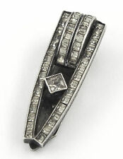 * 1920s GERMANY - QUALITY STERLING SILVER 935 ART DECO CLEAR GLASS CLIP/ BROOCH