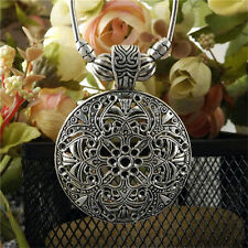 1Pcs Retro Lady Carved Tibet Silver Exotic Chunky Round Hollow Pendant Necklace
