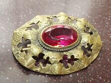 VICTORIAN VINTAGE BRASS SASH PIN BUCKLE PINK OVAL STONE