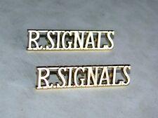 U.K British Pair of Royal Signals (R Signals) Shoulder Titles Badges