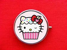 HELLO CUPCAKE KITTY CAT BAKER ROUND METAL PILL MINT BOX