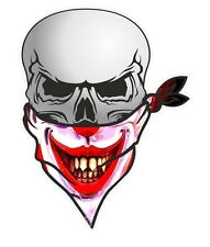 Biker Skull With Face BANDANA & Joker Jester Evil Horror Smiler Mask car sticker