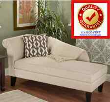 Chaise Lounge w/ Storage (BEIGE) Cotton Upholstery - FREE SHIPPING