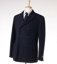NWT $2495 BELVEST Midnight Blue Herringbone Wool Peacoat 50/M (40 R) Outer Coat